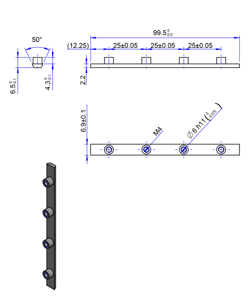 100AT10 Edelstahl Nockenverbinder / Einlegeschiene / Ersatzzahn