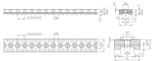 Vakuumzahnriemen 28T10-500 mit Linatex 5,5mm