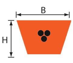VOS 9,5x5,5 (3L) Volta PU Keilriemen orange mit Zugträger