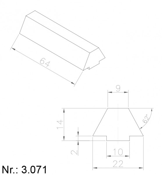 PU Nocken Mitnehmer Aufschweißprofil 3071