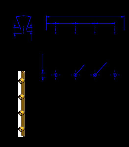100T10 Messing Nockenverbinder / Einlegeschiene / Ersatzzahn