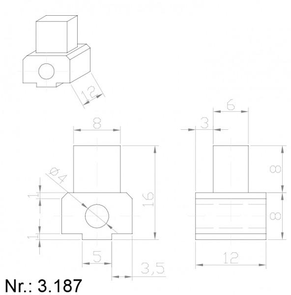 PU Nocken Mitnehmer Aufschweißprofil 3187