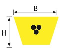 VPYS 17x11,5 (B) Volta PU Keilriemen gelb mit Zugträger