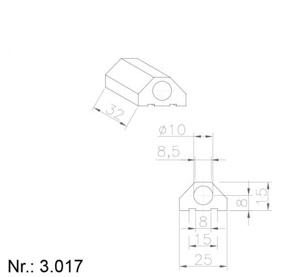PU Nocken Mitnehmer Aufschweißprofil 3017