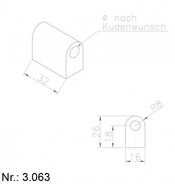 PU Nocken Mitnehmer Aufschweißprofil 3063